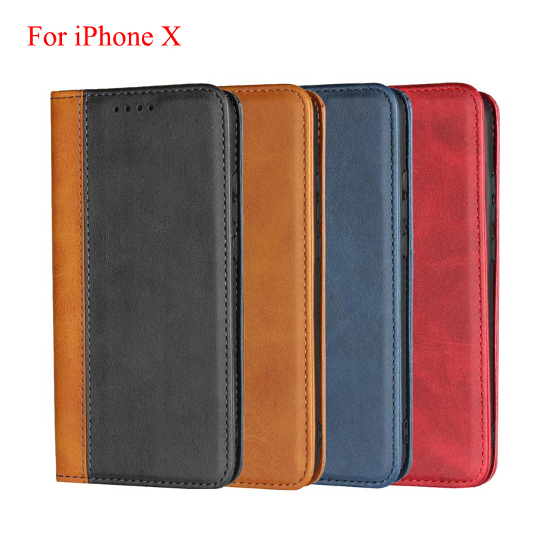 Vintage Patchwork Calf Grain PU Leather Case For iPhone X 5.8 Magnetic Flip Stand Cover For iphoneX shell skin card slots