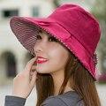 Роскошь! Женщины Лето Хлопок Шляпа Sunbonnet Шляпа Солнца женщин Солнцезащитный Крем Складной Анти-Уф Пляж Крышка Коровы Повелительницы