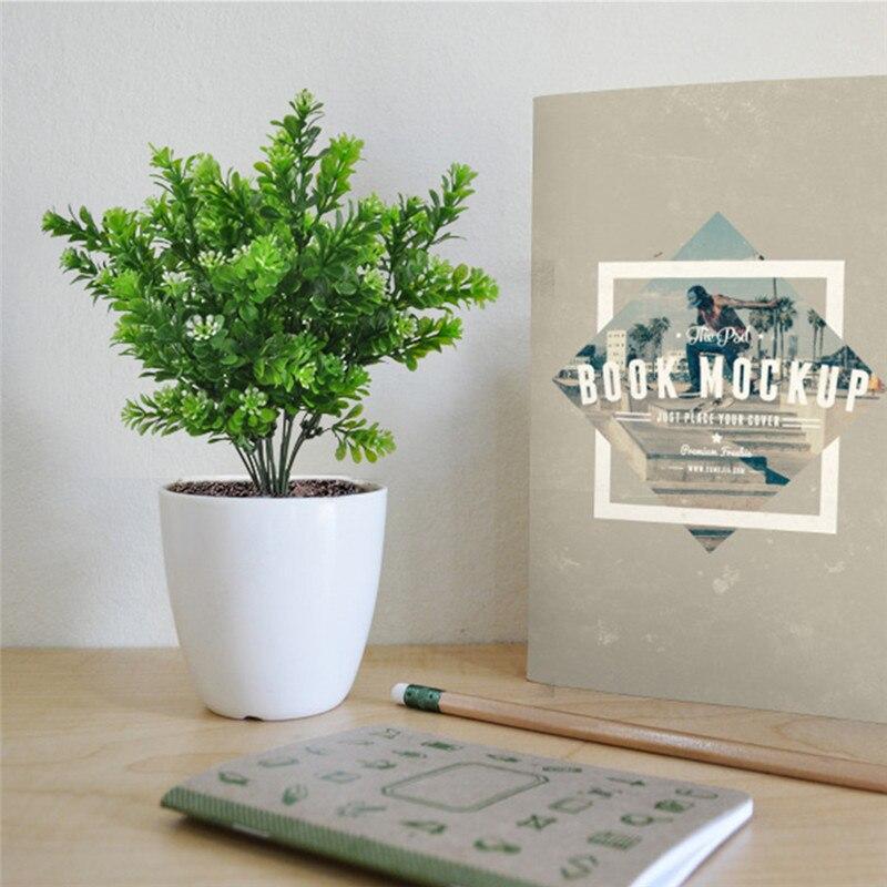 2pcs Artificial grass Plastic Silk Milan/Eucalyptus/Persian Bushes 7 branch for Home Garden Office Floor Wedding decoration