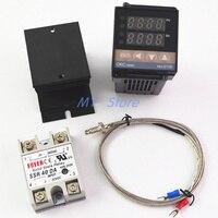100-240VAC PID REX-C100 регулятор температуры диапазон от 0 до 900C SSR40A K термопары, PID контроллер Набор + радиатор