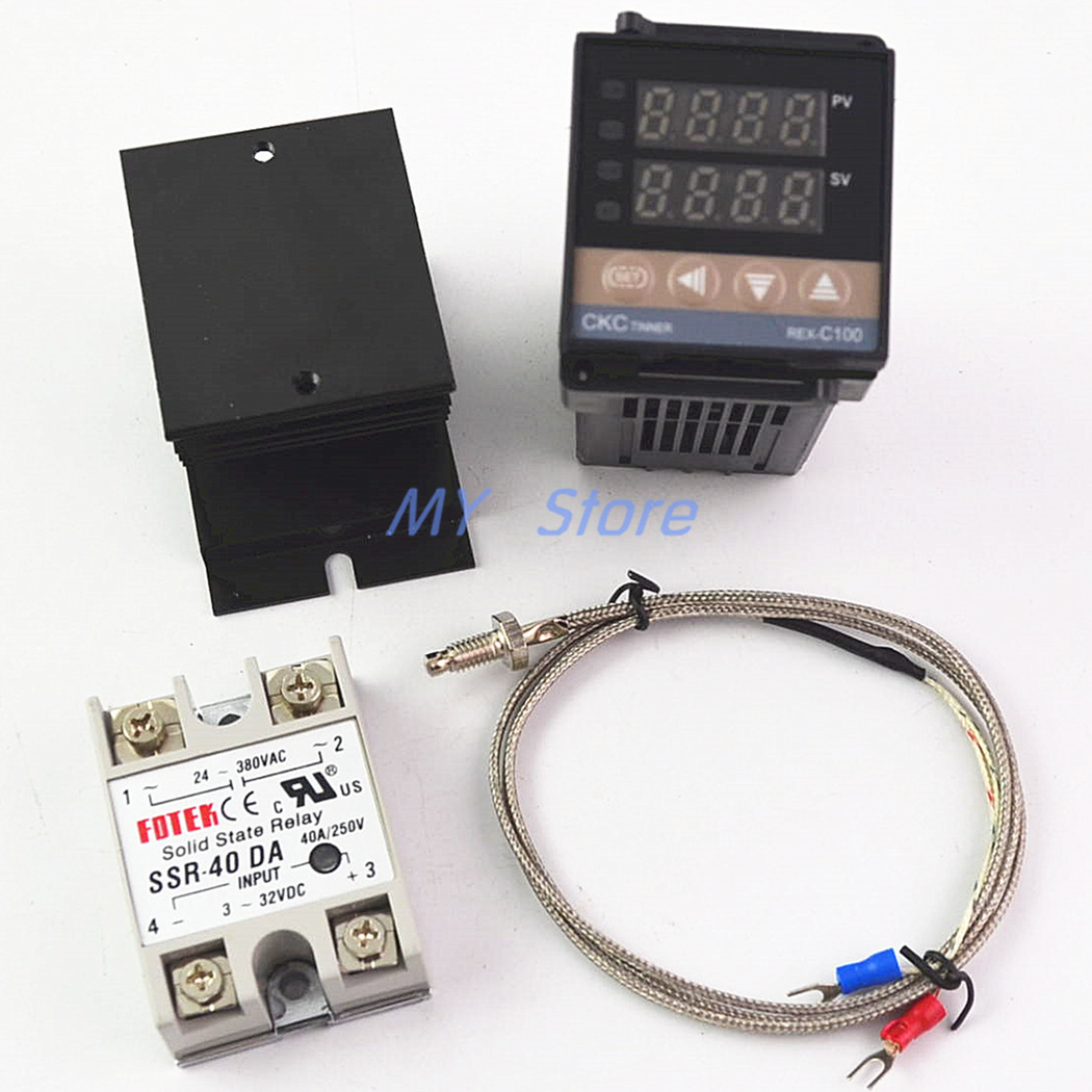 100-240VAC PID REX-C100 Temperature Controller Range 0 to 900C SSR40A K Thermocouple, PID Controller Set + Heat Sink100-240VAC PID REX-C100 Temperature Controller Range 0 to 900C SSR40A K Thermocouple, PID Controller Set + Heat Sink