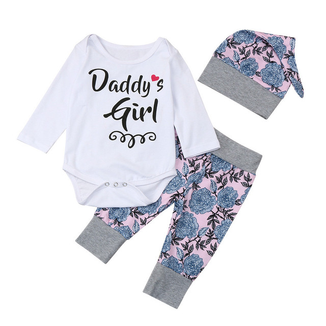 e2c7c03eed4 3pcs cute baby girl clothes Newborn Infant Baby Girl Letter