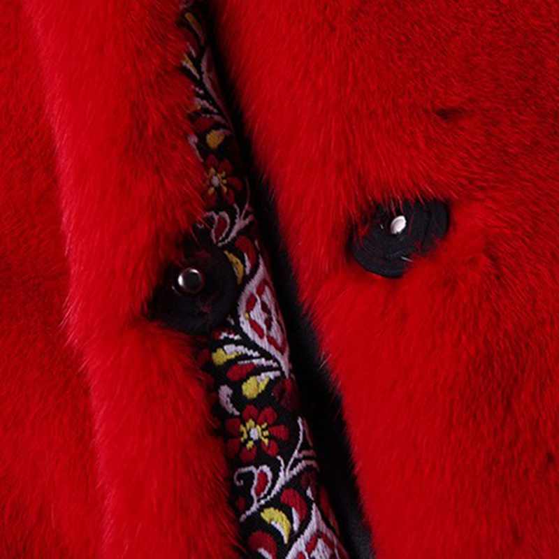 LVCHI 2019 Boho Nyata Mink Mantel Wanita Fashion Merah Lebar Pinggang - Pakaian Wanita - Foto 6