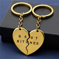 Wholesale Gold plated key chain for lover's Zinc alloy broken heart Key chain best bitches fashion jewelry gift for best friend