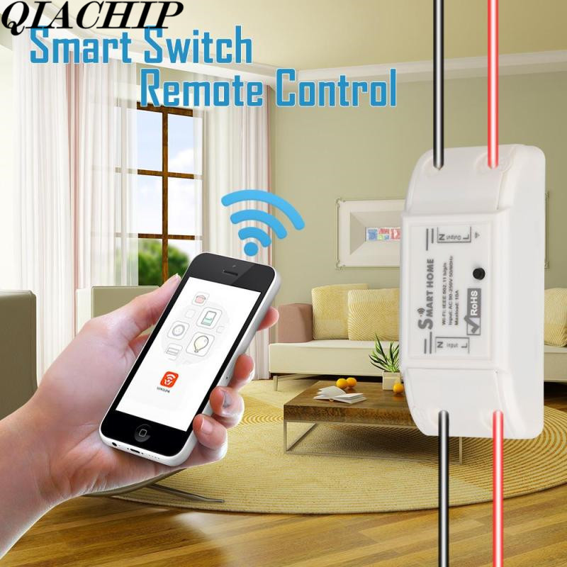 QIACHIP  433mhz 220V 10A Smart Home Remote Control Switch WIFI  Receiver Smart Timer Switch APP Switch Control For Android IOS D qiachip rf wifi 433mhz e27 wireless smart light led lamp bulb holder smart home app timer remote control switch for ios android