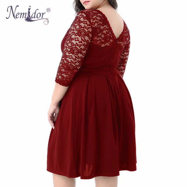 Women Vintage 3/4 Sleeve Casual Lace Top Overlay A-line Dress O-neck Plus Size 8XL 9XL V-low Back Party Midi Swing Dress 5