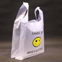 50pcs Cute Smile Pattern Supermarket Grocery White Plastic Shopping Bag 20 x 30cm(China (Mainland))