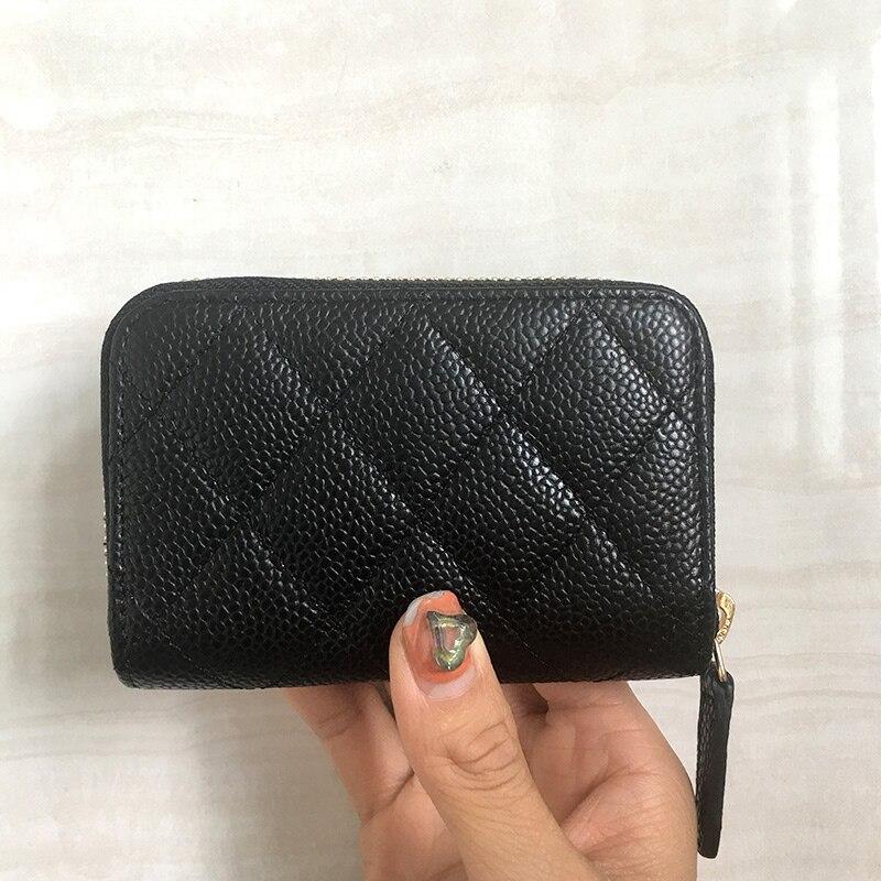 Luxury zipper coin purse women calfskin genuine leather designer top quality feminina brand short caviar small wallet