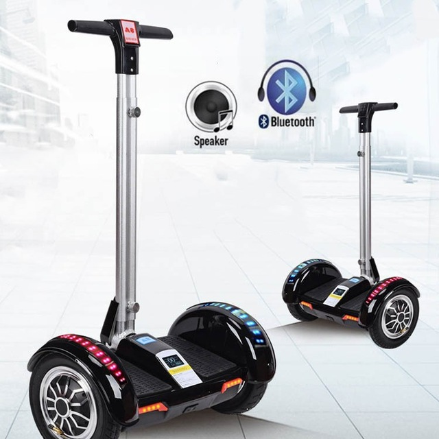 10 pouces Hoverboard deux roues Scooter électrique avec haut-parleur Bluetooth + lumière LED + télécommande clé auto équilibrage Scooter Hoover Board
