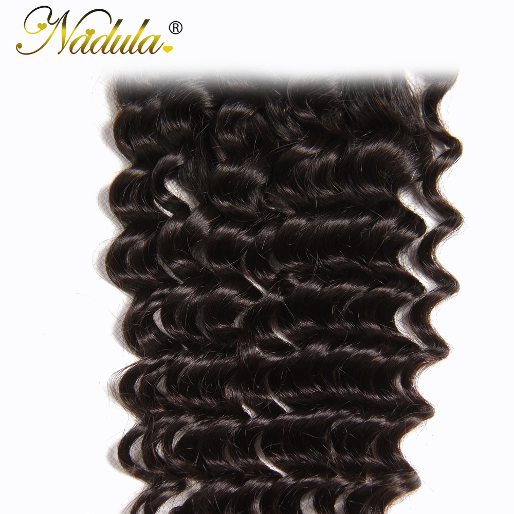 Nadula Hair  Deep Wave Bundles With Closure 10-28 inch 100%  s With Lace Closure Natural Color 5