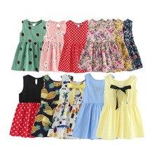 Children Dresses Kids Sleeveless Flower Print Cotton And Linen floral Dress Baby Girl