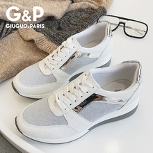 Spring New Sneakers Women Platform Casual Sports Shoes Ladies Thick Soled Fashion Shoes Lace Bling Factory Direct Sale