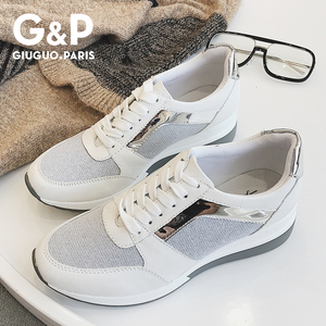 Image 1 - Spring New Sneakers Women Platform Casual Sports Shoes Ladies Thick Soled Fashion Shoes Lace Bling Factory Direct Sale