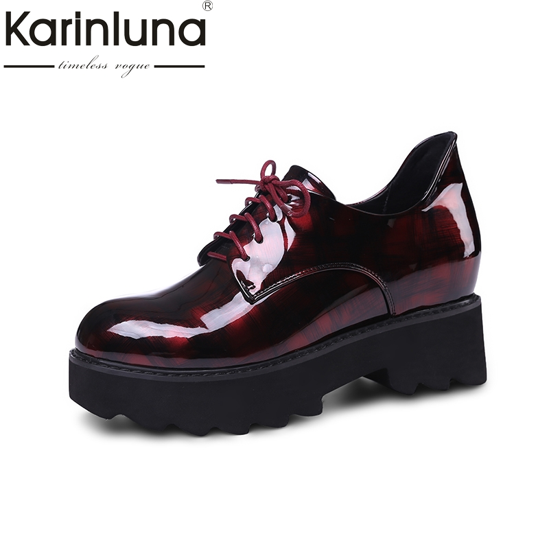 Karinluna 2018 Spring Autumn Fashion Patent Flat Platform Shoes Woman Mixed Color Lace Up Women Casual Shoes Height Increasing free shipping spring autumn women s flatform casual all match board shoes height increasing shoes