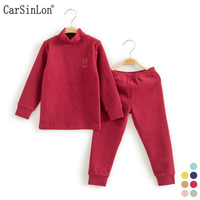 Children S Warm Underwear Suit Cotton High Collar Double Thick Solid Kids Thermal Clothes Baby Boys