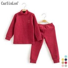 2017 Enfants Sous-Vêtements Thermiques Solide Épais Coton Col Haut Enfants de Chaud Costume Vêtements Bébé Garçons Filles Long Johns Pyjamas ensembles