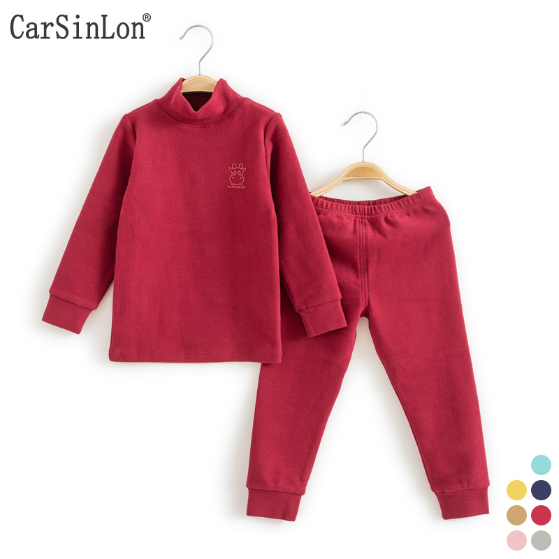 Kids Thermal Underwear Solid Thick Cotton High Collar Children's Warm Suit Clothes Baby Boys Girls Long Johns Pajamas Sets