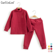 Kids Thermal Underwear Solid Thick Cotton High Collar Children s Warm Suit Clothes Baby Boys Girls