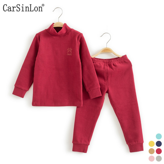 8b75b89679f Kids Thermal Underwear Solid Thick Cotton High Collar Children s Warm Suit  Clothes Baby Boys Girls Long Johns Pajamas Sets