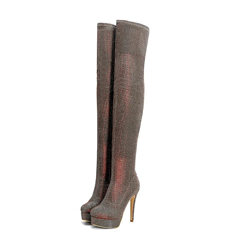 Wetkiss Or vin Sexy Haute Fashion forme Botte D'hiver Rouge Lady vert Chaussures Sur Stretch Plate 2018 Boot Super Stilettos Cuissardes Femme Talons rqURrx0z