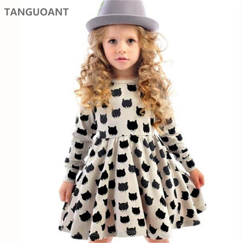TANGUOANT Girl dress cotton long sleeve black stamp elastic pleated Zou comfortable dress stitching girl dress Cartoon cat dress plaid pleated cami dress