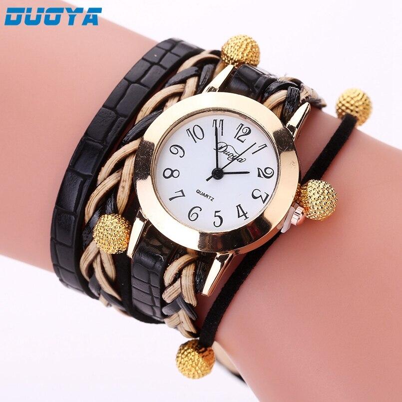 Duoya Brand Fashion Dial Quartz Watch Women Wristwatch Steel Luxury Bracelet Watch Multilayer Leather Wrist Watch Dropship #No8