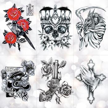 Crown Skull Scythe Death tatuaje temporal a prueba de agua pegatina bosquejo rezando Cruz Flash tatuajes arte corporal brazo Tatuaje falso