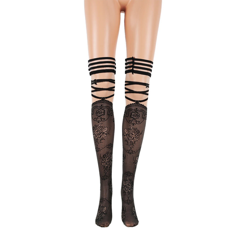 Women Sexy Hollow Mesh Print Strip Anti Slip Over Knee Stockings Temptation Thin Black Net High Leg Slim Long Tights Stockings Women's Socks & Hosiery Stockings