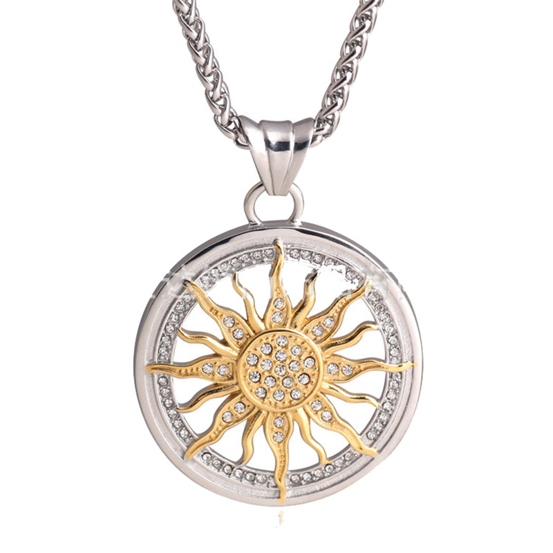 New Fashion Gold Silver Plated Crystal Iced Out Sun Flower
