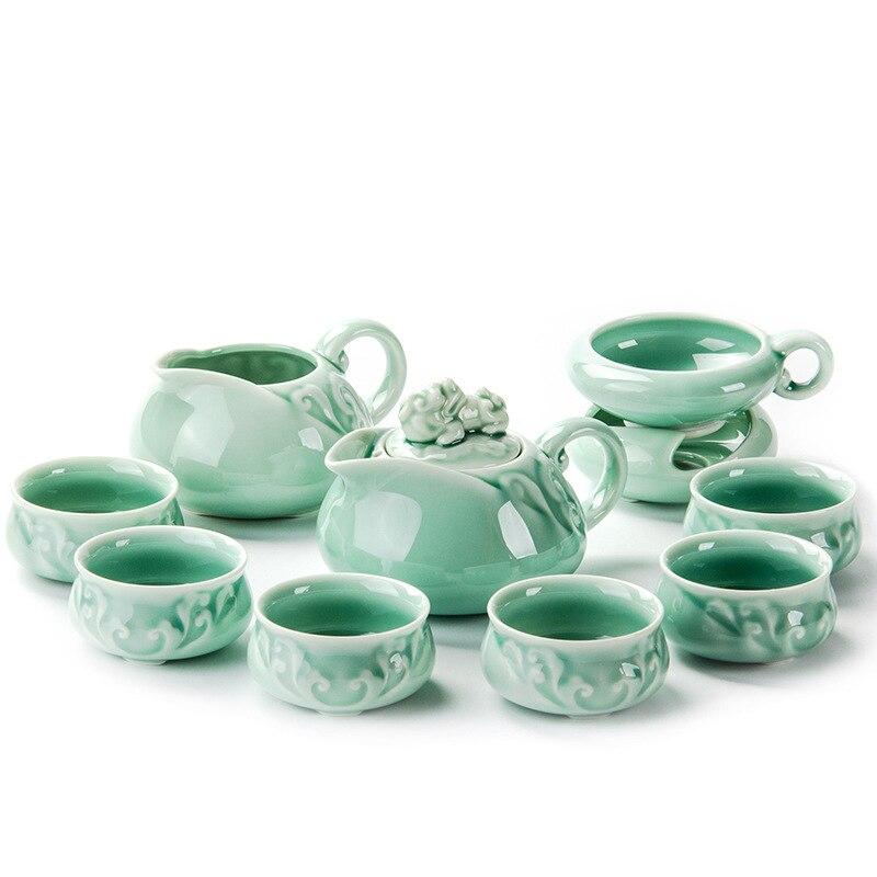 Service à thé céladon exquis comprend 6 tasses 1 théière  Jingdezhen glaçure porcelaine marque exquis ensemble Kung Fu tasse à thé cadeau Unique|Services à thé| |  -