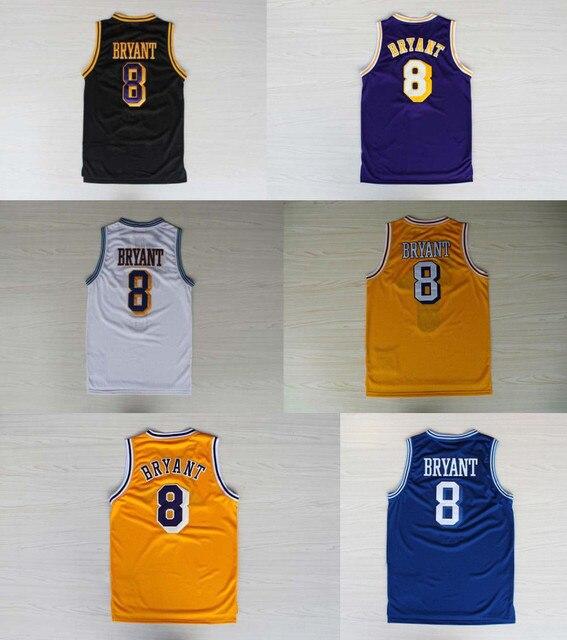 3989b24f8ad7 Kobe Bryant Jersey  8 Basketball Yellow Blue White Black Retro shirts High  Quality Hot Sale Fashion Online