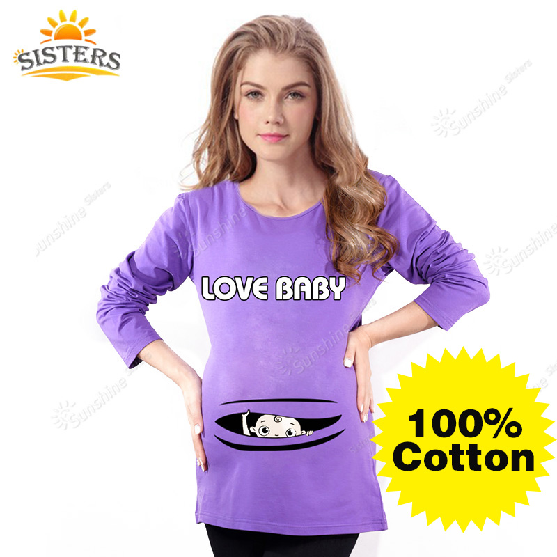 100 Cotton Tees Maternity Tops Pregnancy Shirts With Baby Peeking Out Peek A Boo Maternity T Shirt Baby Peeking 2016long Sleeve In Tees From Mother Kids