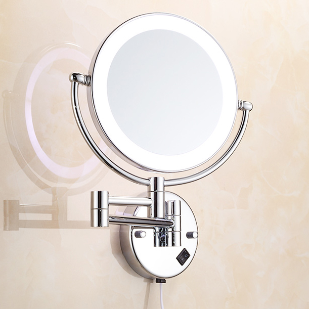 Bath Mirrors Chrome Magnifying Bathroom Wall 9 Inch Brass Round LED Makeup Lighting Mirror Illuminator Make-up Mural 2068 2