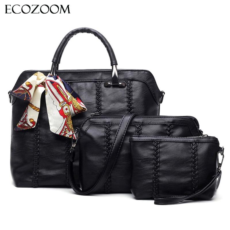 3Pcs font b Set b font Vintage Women Ribbon Composite Bag Female Office font b Handbag