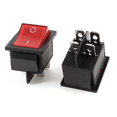 High quality 2 Pcs AC 250V 16A AC 125V 20A ON/OFF 4 Pin DPST Red Button Boat Rocker Switch 5 pcs ac 6a 250v 10a 125v 3 pin black button on on round boat rocker switch