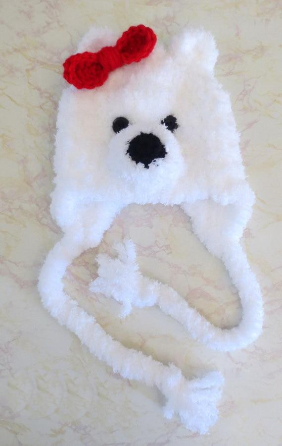 ⊱NB-3M ganchillo sombrero de oso polar-fuzzy Oso Polar gorro-fuzzy ...