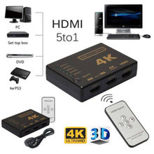 Mini HDMI Switcher 2160P 5 Port 4K HDMI Switch Selector Splitter With Hub IR Remote For HDTV DVD TV BOX 1080P Digital Cameras hdmi splitter 3port 4k 2k switch selector switcher hub