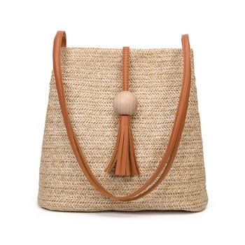 DCOS Bali Vintage Handmade Crossbody Leather Bag Round Straw Beach Bag Girls Circle Rattan bag Small Bohemian Shoulder bag