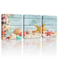 Framed Seascape Poster Beach Shell Picture Retro Paris Street View Wall Art Canvas Painting Abstract Landscape Pictures for Home