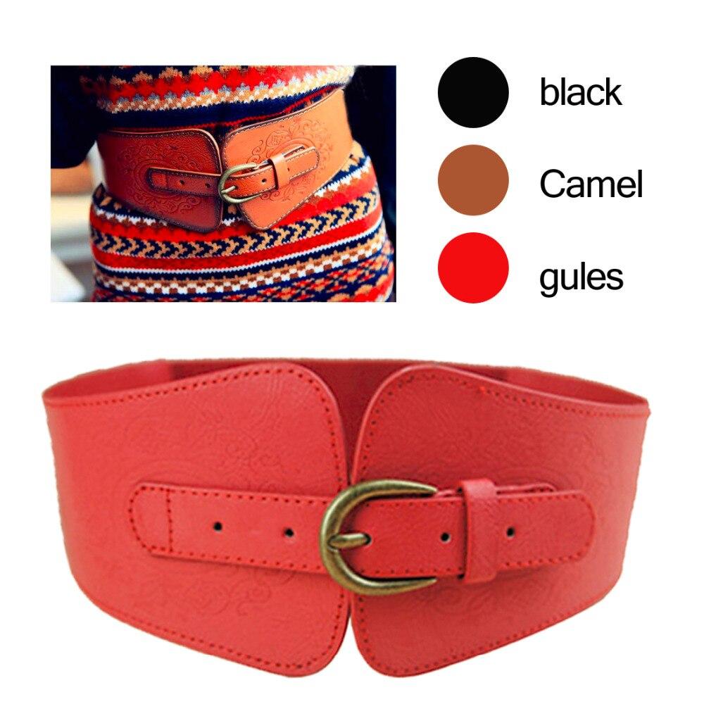 Metal Waistband Retro Totem Imitation Leather Pin Buckle Wide Belt Women Elastic Waist Candy Color Cummerbund