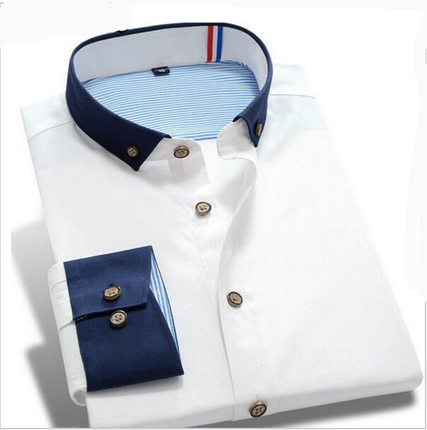 2017 de los hombres visten camisa de manga larga camisa de vestir de marca camisa más tamaño golpeó costuras de color de moda casual calidad 7 color