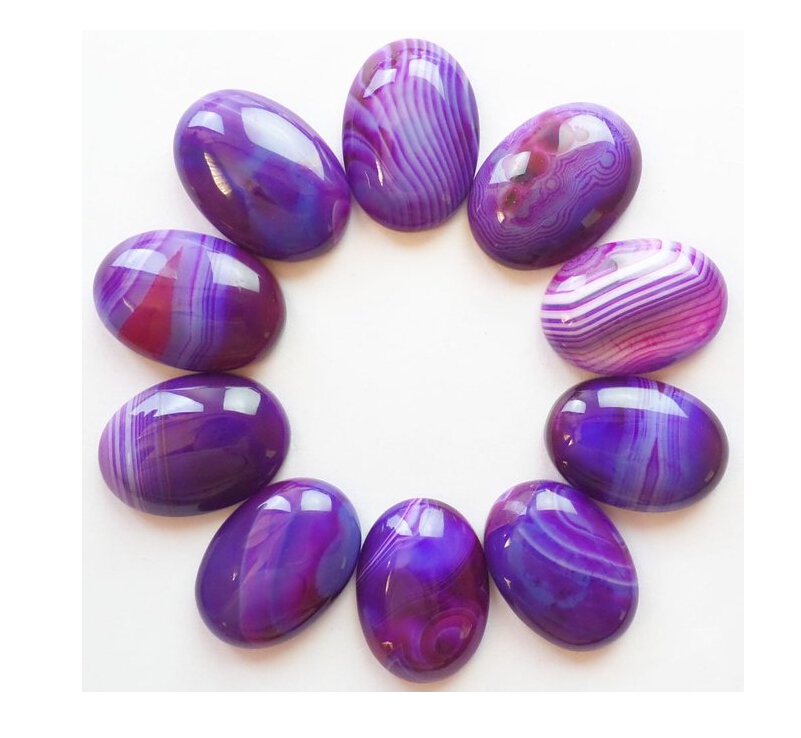 20pcs Beautiful Purple Onyx Agat e oval CAB CABOCHON 20x15x5mm For Jewelry Making