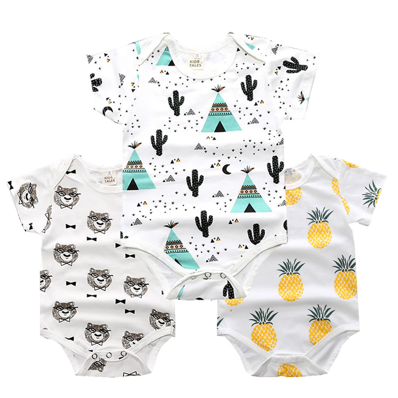 2018 New Summer Unisex Baby Rompers Short Sleeve Infantil Cotton O-Neck Baby clothing 0-18M Newborn Baby Boys&Girls Clothes baby rompers o neck 100