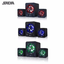 SADA D-207 Fashionable Portable Size 2.1 Surround Sound Speaker For MP3 Mobile Phone Computer Laptop Built-in Colorful LED Light