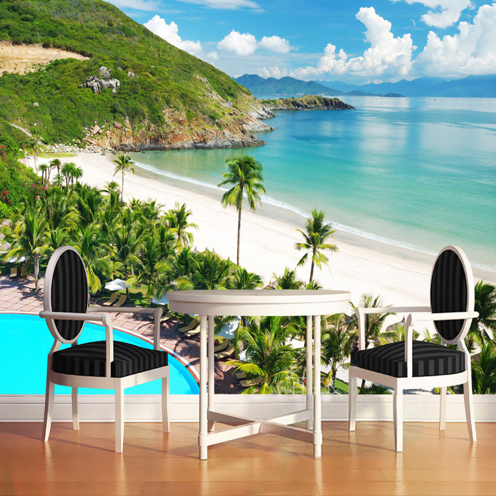 Custom 3D Photo Wallpaper Modern Sea Coco Swimming Pool Background Decoration For Wall Living Room Sofa Bedroom Mural Wallpaper