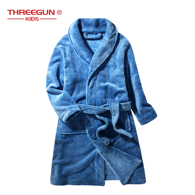 Kids Bathrobe Flannel Child Boys Girls Beach Bath Robe Sleepwear Winter Bathrobes Velvet Warm Clothing Pajamas Children 14years