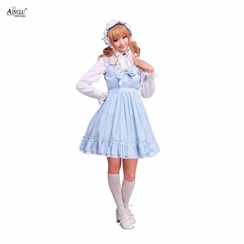 Ainclu Free Shipping XS To XXL Cemavin Womens Cotton Blue White Gingham Check School Lolita Dress for Adults four Seasons