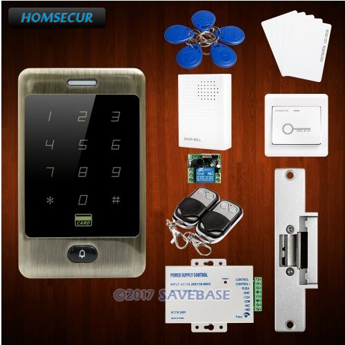 HOMSECUR Waterproof Wiegand 26/34 8000 User Capacity RFID Access Control System With Touch Keypad+Backlight homsecur waterproof 125khz rfid access control system with 8000 user capacity tamper alarm function doorbell