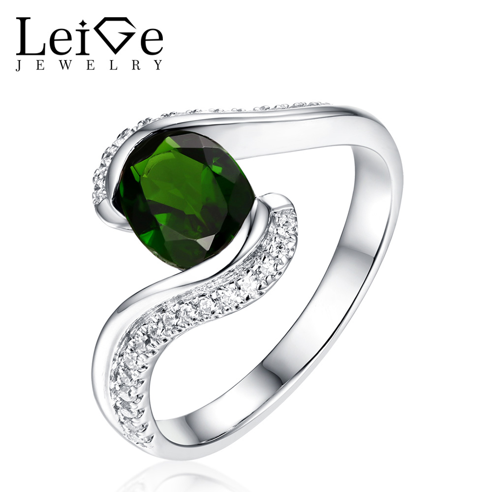 Leige Jewelry Natural Diopside Ring Green Gemstone Silver Oval Cut Bezel Setting Anniversary Rings for Women Fine JewelryLeige Jewelry Natural Diopside Ring Green Gemstone Silver Oval Cut Bezel Setting Anniversary Rings for Women Fine Jewelry