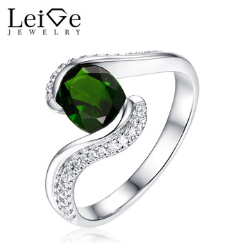 Leige Jewelry Natural Diopside Ring Green Gemstone Silver Oval Cut Bezel Setting Anniversary Rings for Women Fine Jewelry